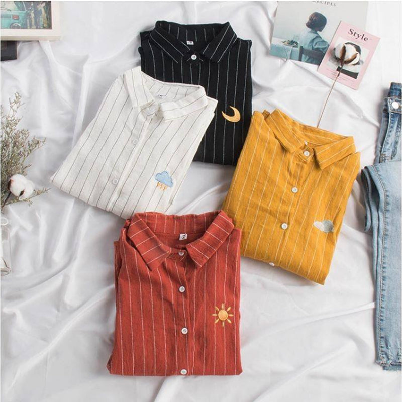 """EMBROIDERY SUN & MOON"" STRIPED SHIRT W042003"