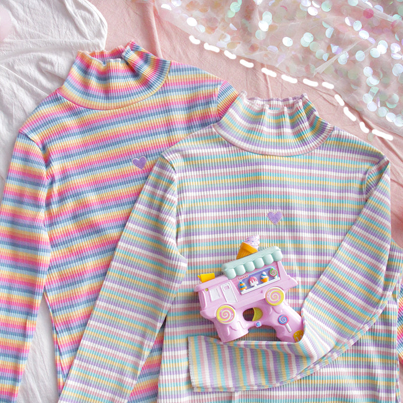 "[@exceedaesthetic] ""LOVE RAINBOW PASTEL"" BASE SHIRT W110711REVIEW"