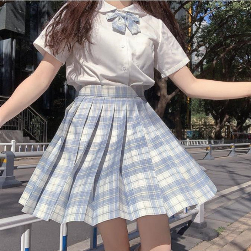 """JK LIGHT BLUE PLAID"" PLEATED SKIRT / TIE N073006"