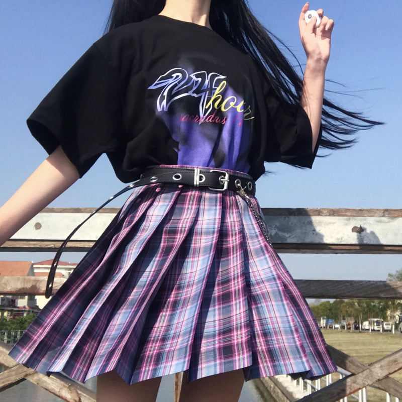 """JK DARK PURPLE GRID"" PLEATED SKIRT / TIE N073015"