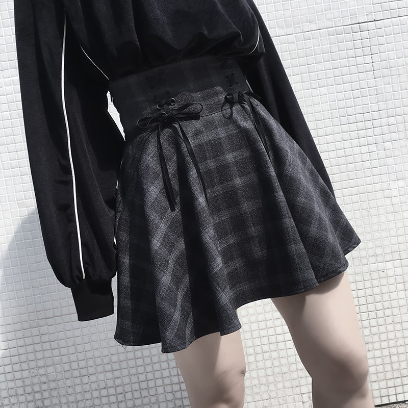 """ PLAID "" HIGH WAIST SKIRT W042604"