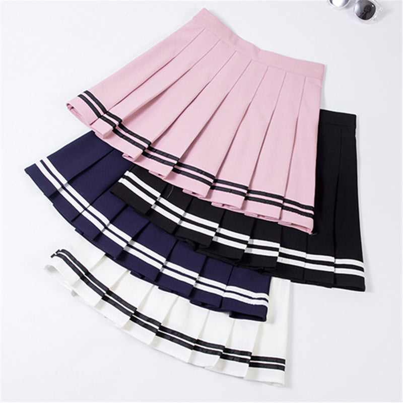 """SWEET STRIPE"" PLEATED SKIRT W041604"