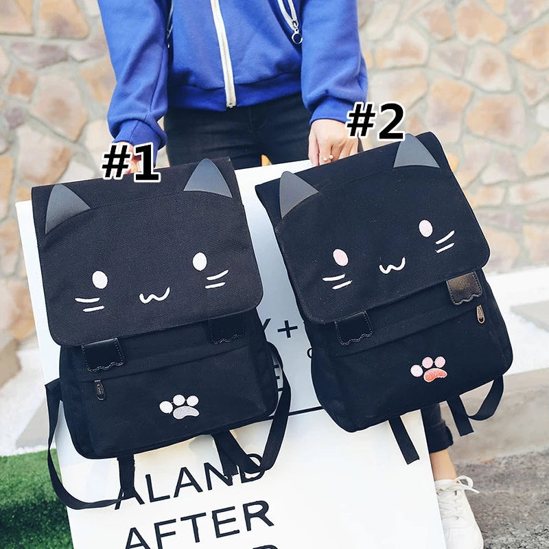 """BLACK SMILEY NEKO"" BACKPACK W110401"