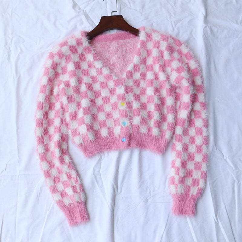 """RED / WHITE CHECKERS"" SWEATER CARDIGAN S020802"