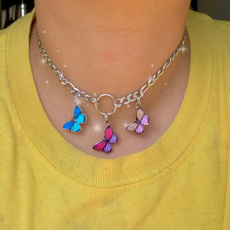 """THREE BUTTERFLIES"" NECKLACE S031304"