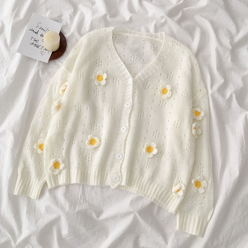 "[@id0lls] ""3D FLOWERS"" SWEATER KNIT CARDIGAN S032501REVIEW"