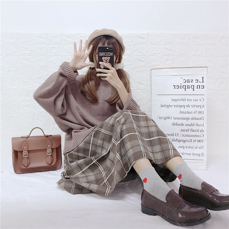 """LAZY"" SWEATER + PLAID SKIRT W112004"