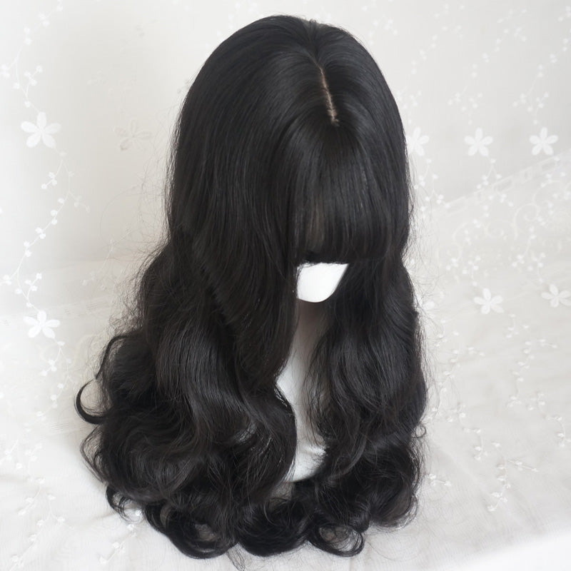 """BLACK WAVY AIR BANGS"" LONG CURLY HAIR WIG S033103"