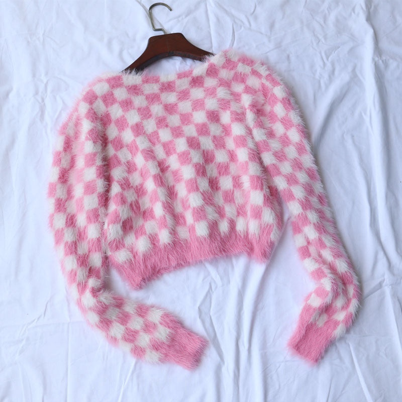 """RED / WHITE CHECKERS"" SWEATER S020802"