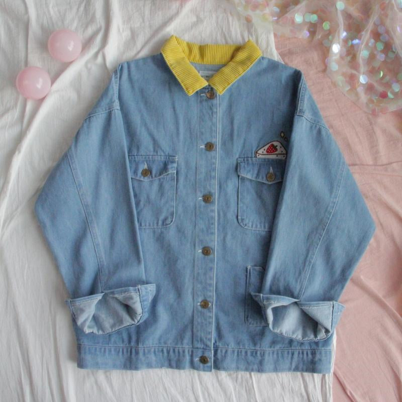 "[@junkenstein] ""HARAJUKU EMBROIDERY STITCHING"" DENIM JACKET W110707REVIEW"