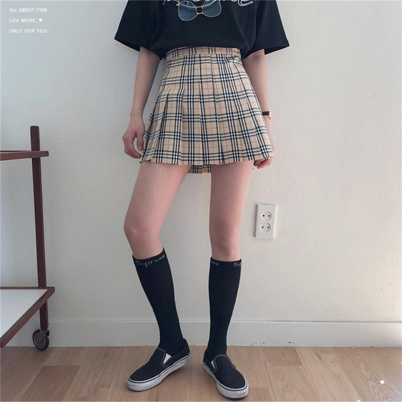 """KHAKI PLAID"" PLEATED SKIRT W112001"