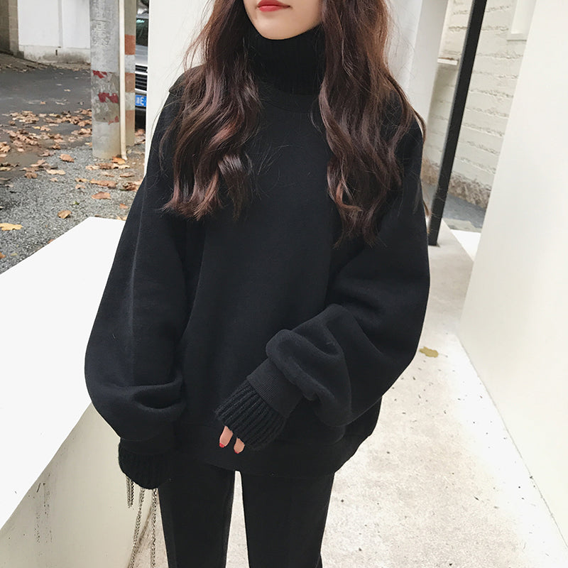 """KNIT TURTLENECK SWEATSHIRT"" FAKE TWO PIECE W112016"