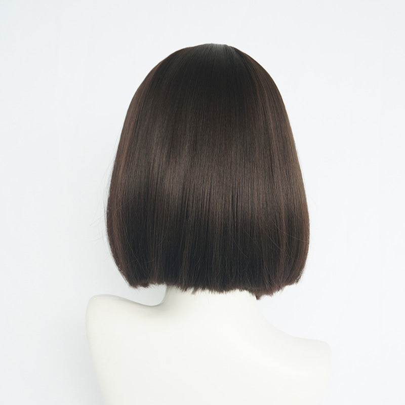 """BLACK BROWN AIR BANGS"" MEDIUM MID-LENGTH WIG S033102"