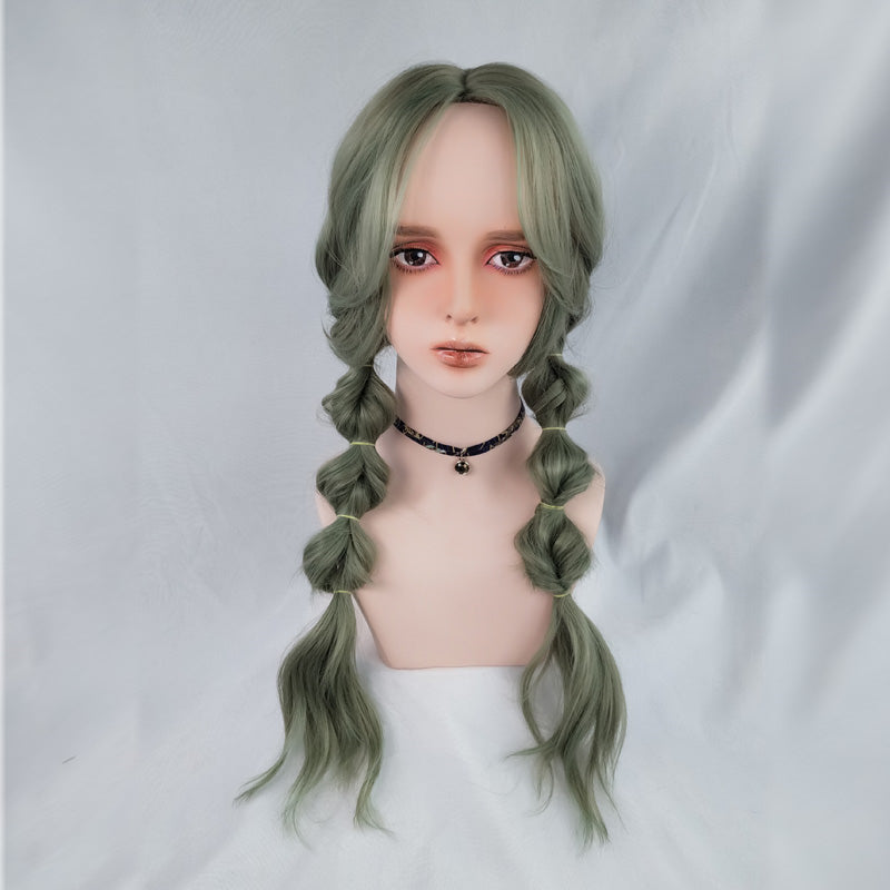 """chocolate/Green Cute Sweet"" Curly Long Wig S033005"