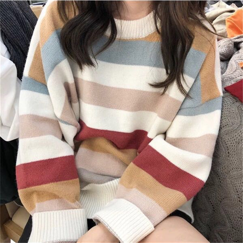 """LAZY"" STRIPE KNITTED SWEATERS W102515"