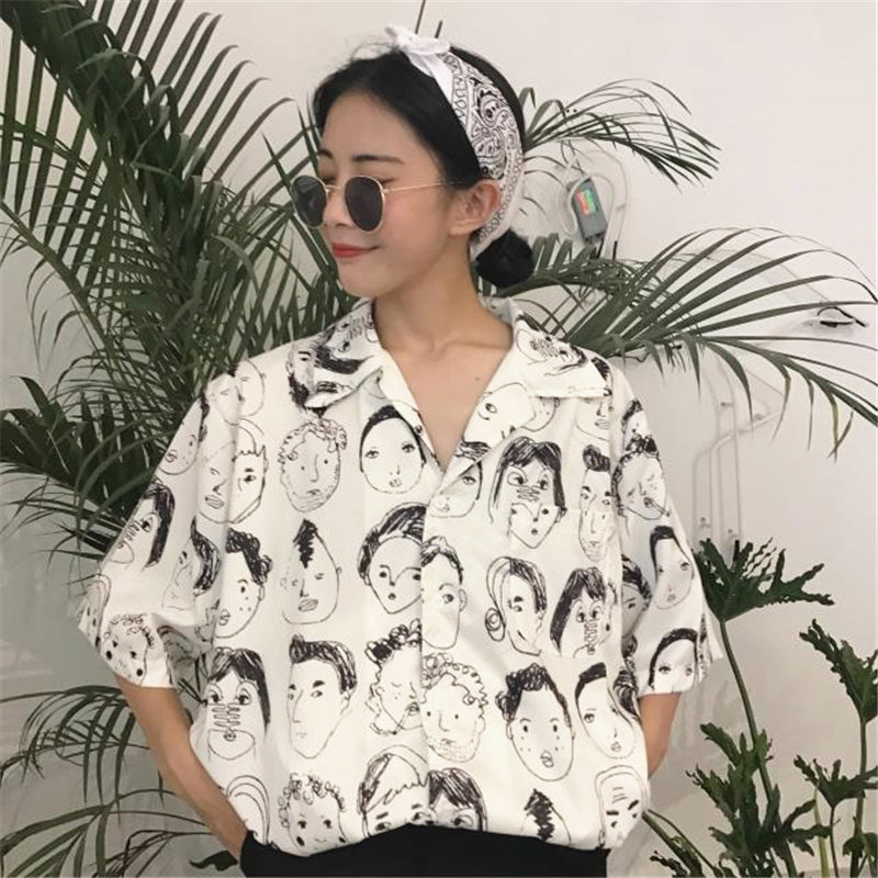 """JFASHION CHARACTERS GRAFFITI"" PRINT SHIRT K040402"