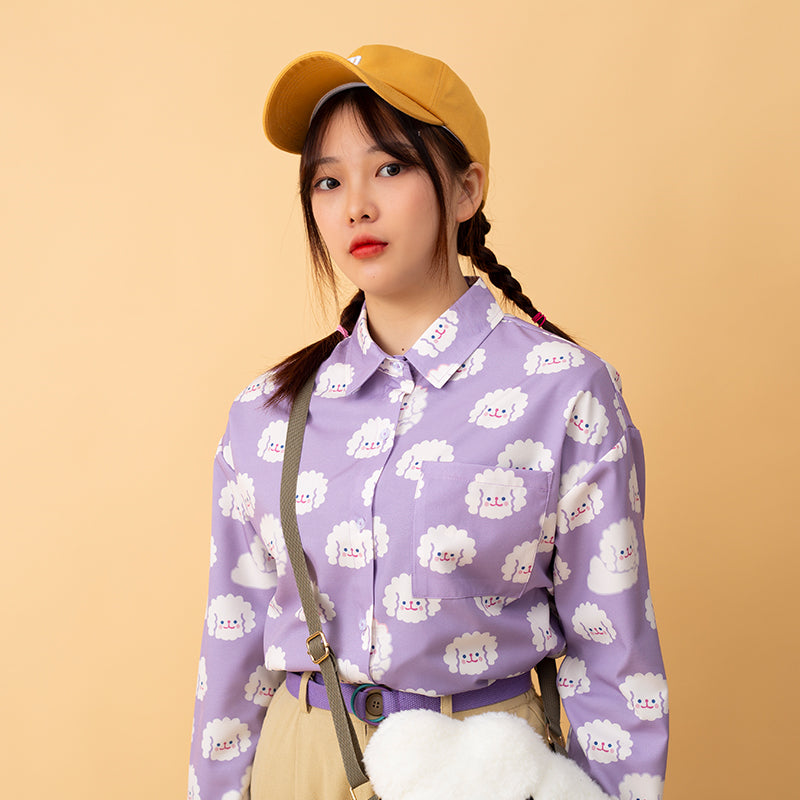 "[@karolinekato ] ""LITTLE WHITE DOG"" PURPLE SHIRT S031605"