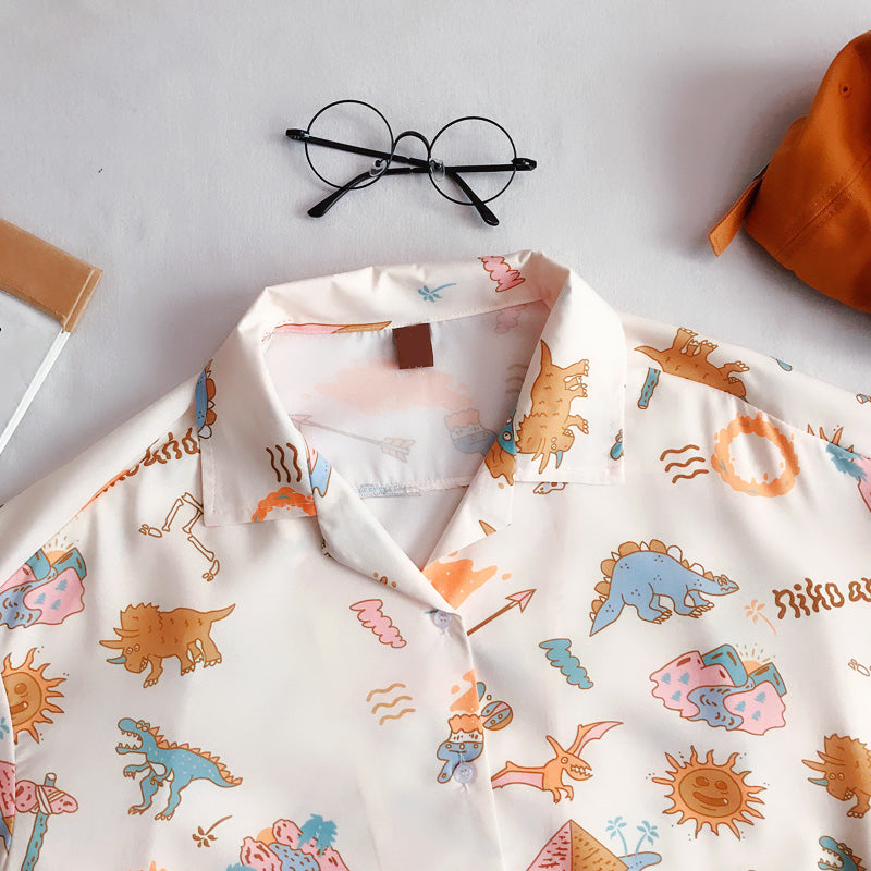 """LITTLE DINOSAUR PRINTING"" SHORT SLEEVE SHIRT S031404"