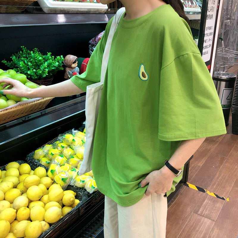 """FRUIT EMBROIDERED"" LOOSE T-SHIRT K031901"