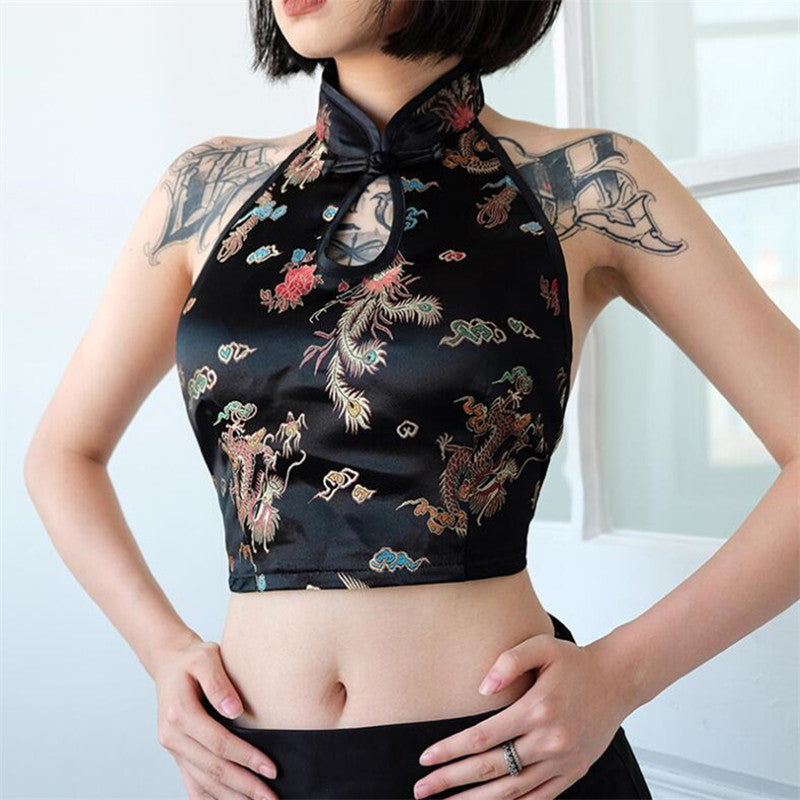 """EMBROIDERY DRAGON & CLOUD"" CROP TOP W041001"