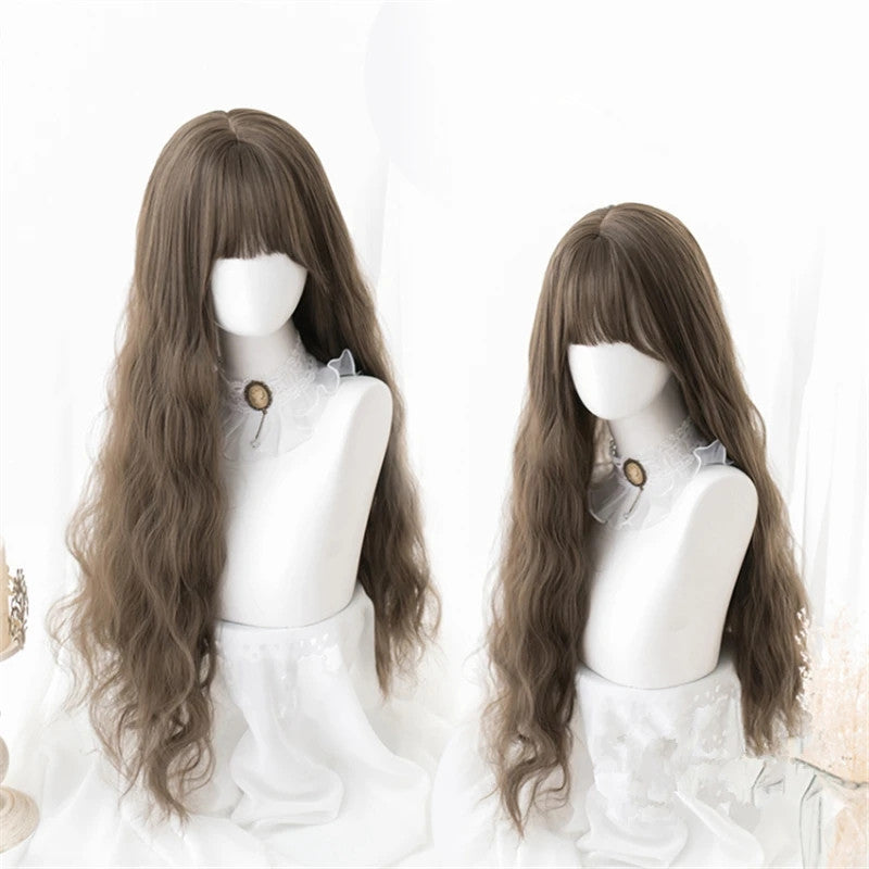 """BROWN / BLACK / WINE RED / BROWN YELLOW"" LONG CURLY WIG D041507"