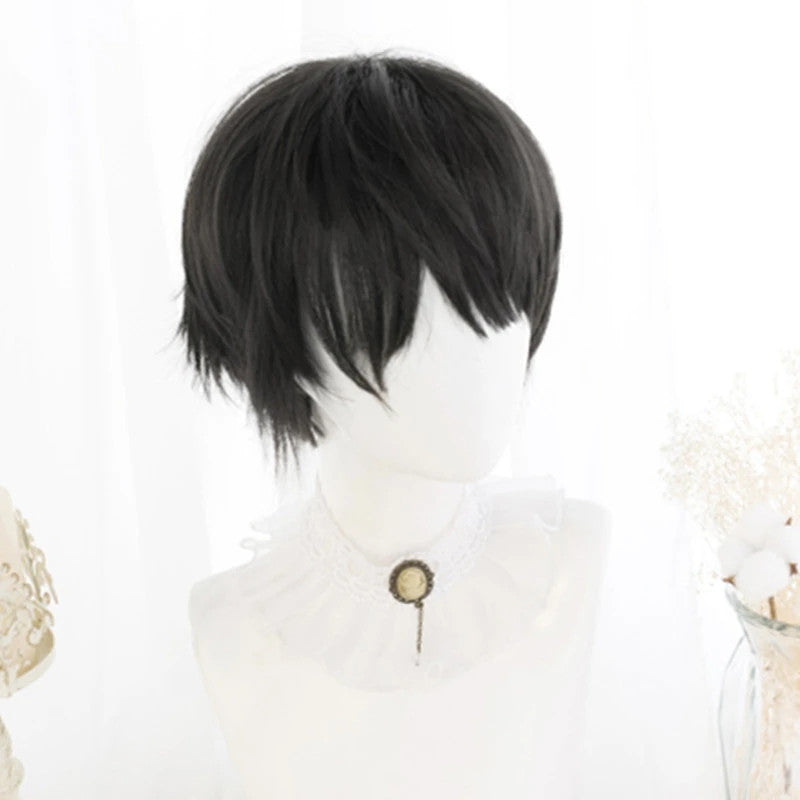 """BLACK BROWN HANDSOME SHORT"" WIG D041517"