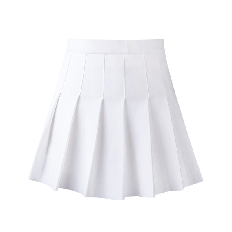 """CANDY-COLORED ELASTIC WAIST"" PLEATED SKIRT K112207"
