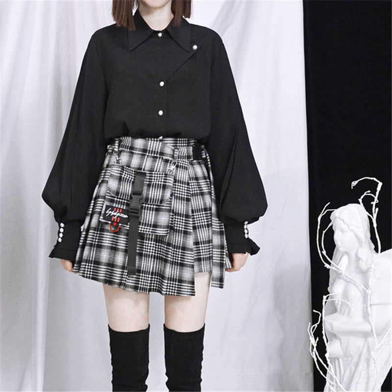 """PLAID"" PLEATED SKIRT W010412"