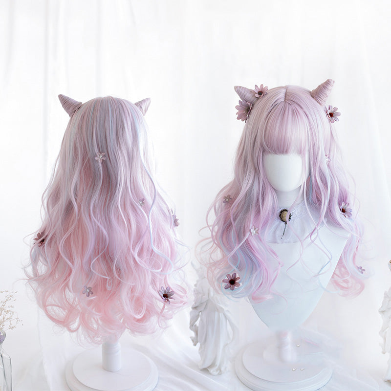 """LOLITA DREAMY PINK BLUE LONG CURLY"" WIG N110206"