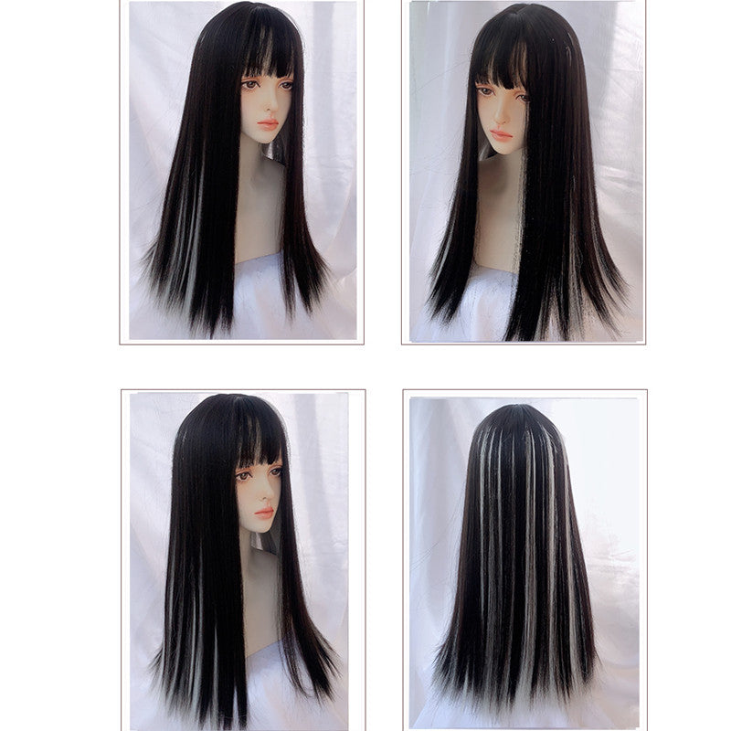 """BLACK BROWN HIGHLIGHTING SILVER GRAY LONG"" WIG N101403"