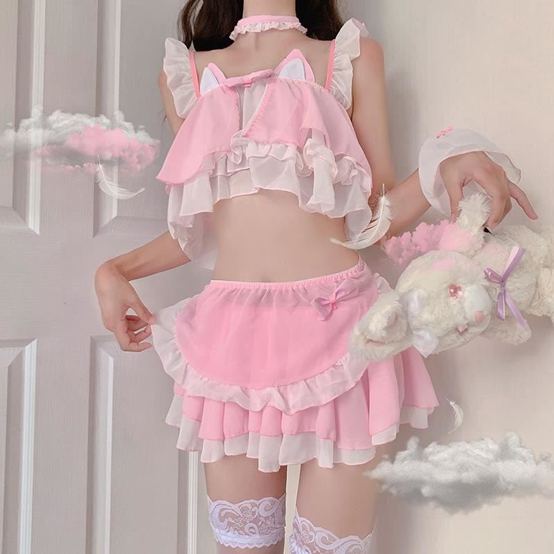 """BLACK/PINK CAT MAIDEN"" LINGERIE SUIT K092403"
