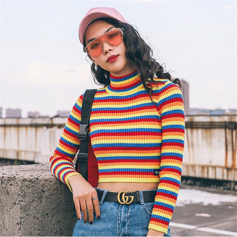 """RAINBOW STRIPE"" KNIT TOP W010343"