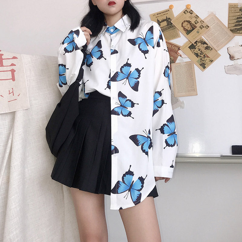 """FULL PRINT BUTTERFLY"" LONG SLEEVE SHIRT N072303"