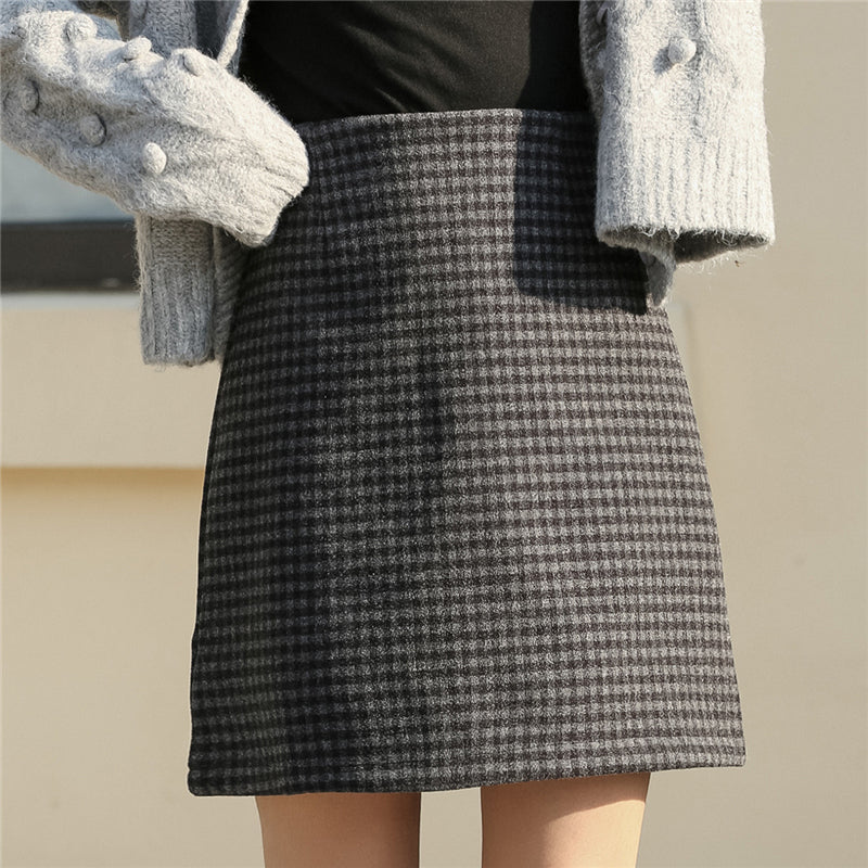 """HIGH WAISTED WOOLEN PLAID"" SKIRT N111810"