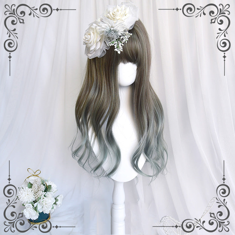 """LOLITA LINEN GREEN GRADIENT LONG CURLY"" WIG N111709"