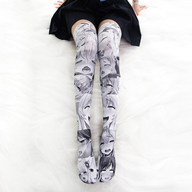 """ANIME PRINT OVER THE KNEE"" SOCKS N102407"
