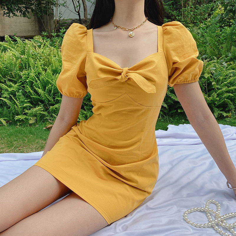 """YELLOW/BLACK/BLUE BOWKNOT PUFF SLEEVE"" DRESS N051305"