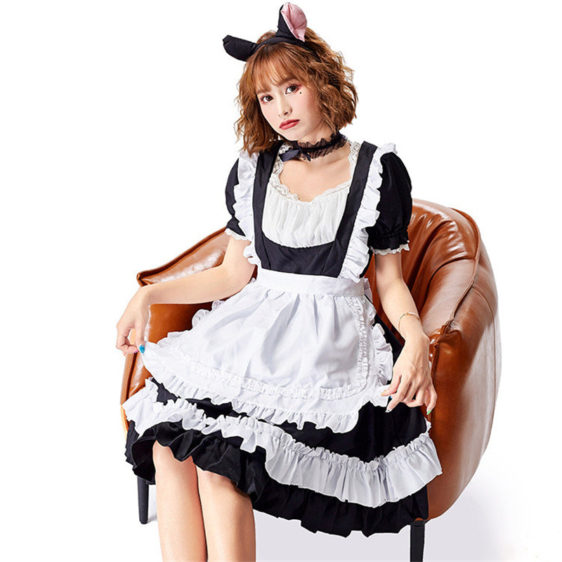 """CUTE LOLITA BLACK  WHITE MAID"" OUTFIT N122903"