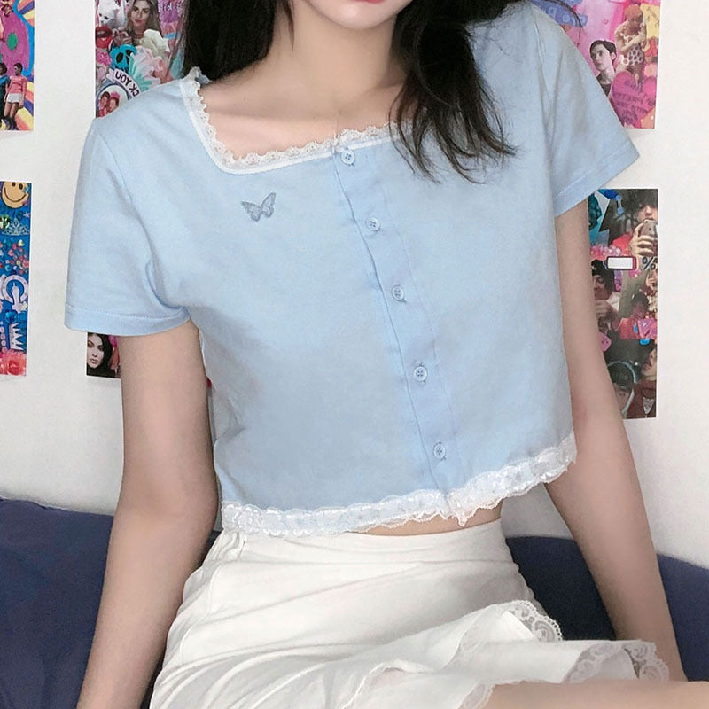 """BLUE LACE BUTTERFLY EMBROIDERY"" CROP TOP N040605"