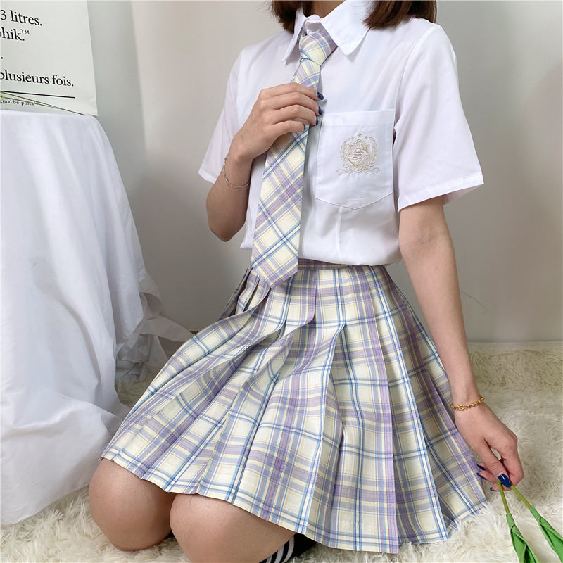 """JK LIGHT PURPLE WHITE PLAID"" SKIRT / TIE N073018"