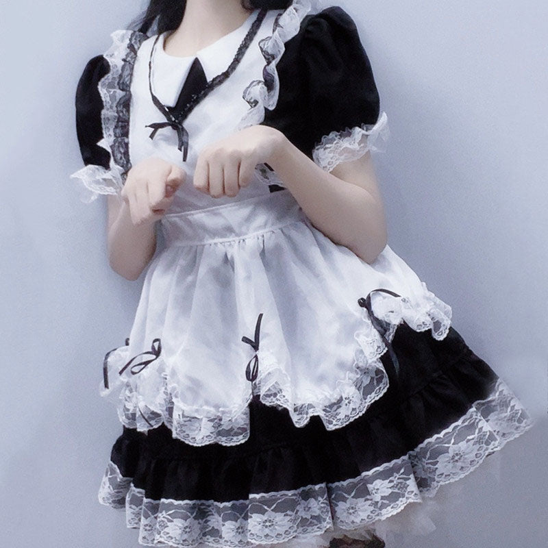 """LOLITA BLACK WHITE LACE BOW MAID"" SUIT N050804"