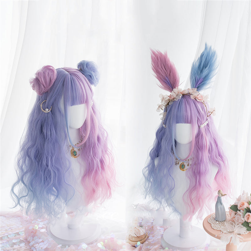 """BLUE PINK CANDY-COLOR LOLITA LONG CURLY"" WIG D051611"