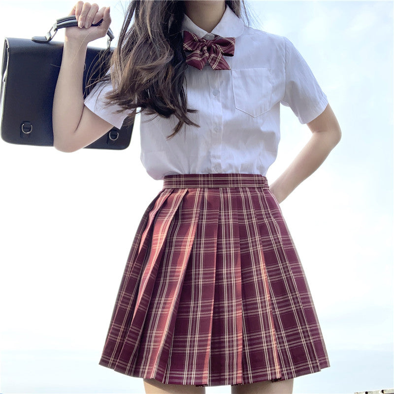 """JK RED YELLOW GRID"" PLEATED SKIRT / TIE N073001"