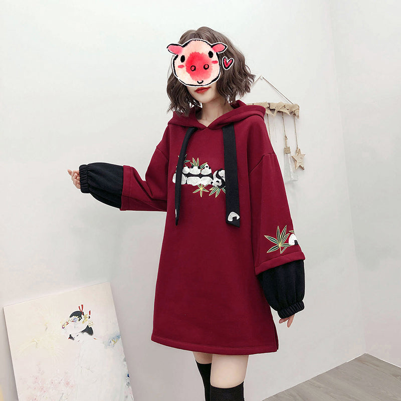 """RED BLACK PANDA EMBROIDERY"" HOODIE N110512"