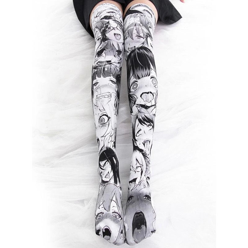 """ANIME PRINT OVER THE KNEE"" SOCKS N102404"