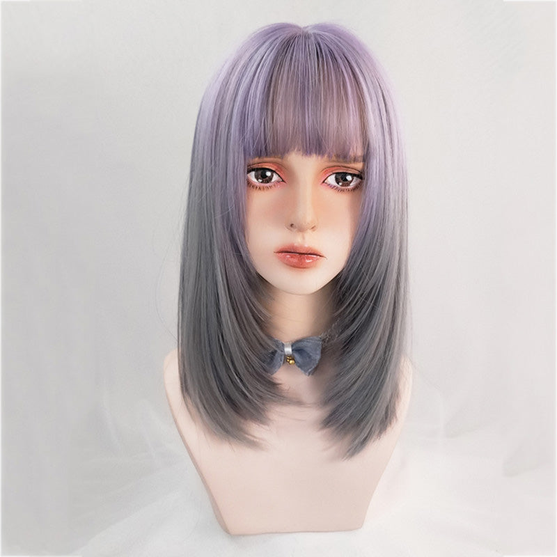 """PURPLE GRAY GRADIENT MID-LENGTH STRAIGHT"" WIG N111307"