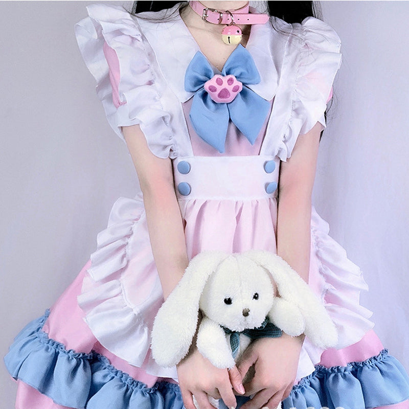 """LOLITA CAT PAW BOW PINK BLUE MAID"" OUTFIT DRESS N022406"