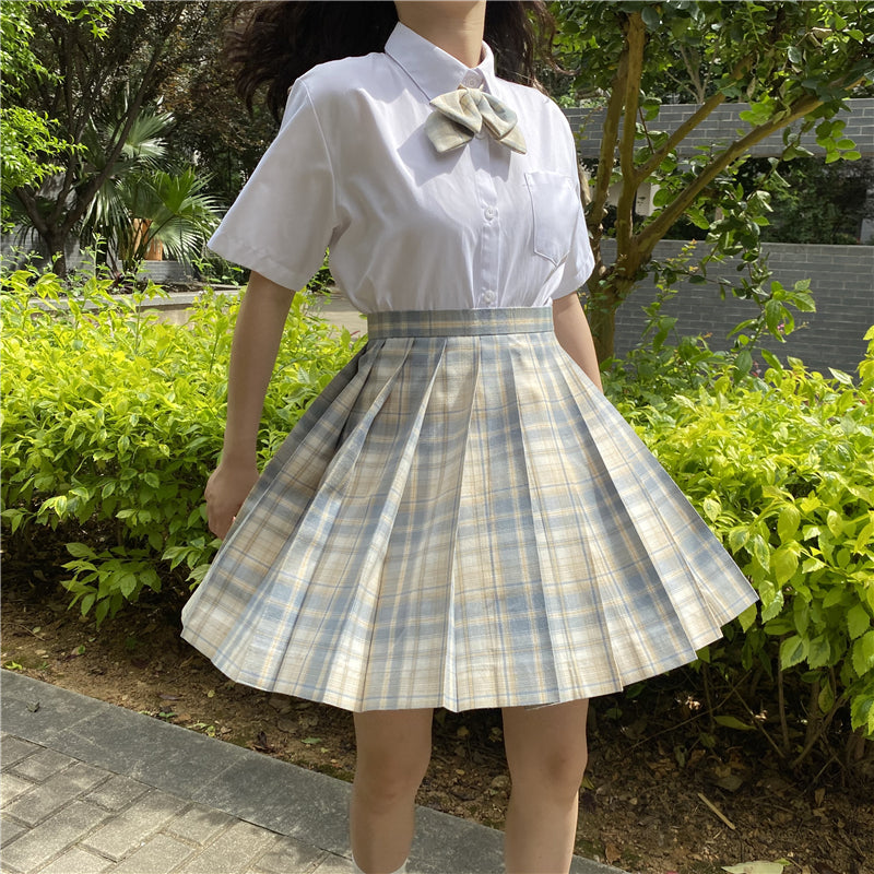 """JK LIGHT YELLOW BLUE PLAID PLEATED"" SKIRT / TIE N073011"