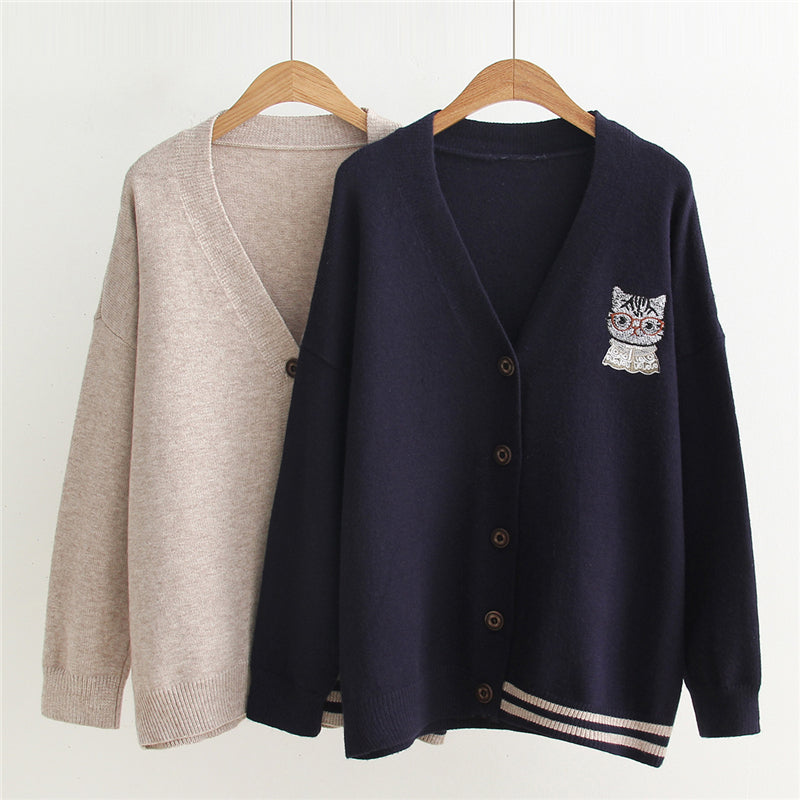 """CARTOON CAT EMBROIDERY KNITTED"" CARDIGAN N123003"