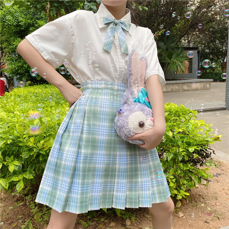 """JK LIGHT GREEN GRID"" PLEATED SKIRT / TIE N073014"